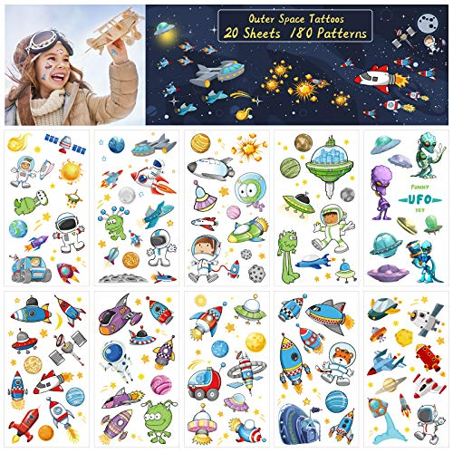 ZERHOK 180pcs Tattoo Kinder Weltraum Kindertattoos Planeten Sticker Alien Astronaut Rakete Weltraumparty Aufkleber Mädchen Jungen Mitgebsel Geschenke für Weltraumparty Geburtstag Weltraum Party