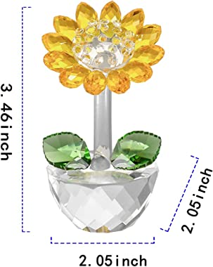 Crystal Sunflower Figurine Home Decoration, Handmade Flower Statue Ornament, Crystal Crafts Paperweight Collectible, Come wit