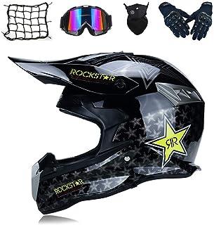 IKHNGLE Cross Helmet Full Face Off Road Motocross Quad Crash Helmet Downhill Dirt Bike MX ATV Adult Motorbike Helmet Gloves Goggles Mask Set D.O.T Certified