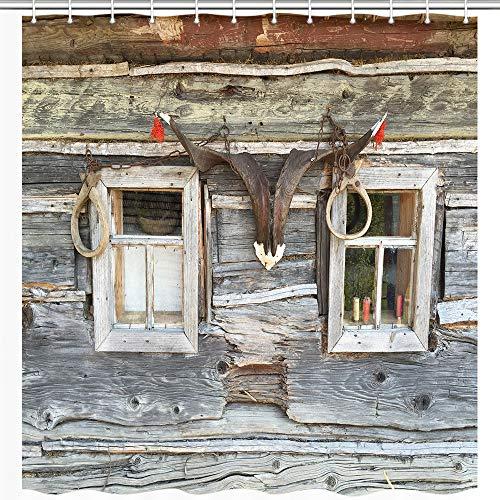 JAWO Rustikaler Bauernhof-Duschvorhang für Badezimmer, Holz Scheune, Schafhorn, Texas, Western-Cowboy-Beruf, Polyester-Stoff, Bade-Zubehör, Dekoration, mit 12 Haken, 177,8 x 177,8 cm