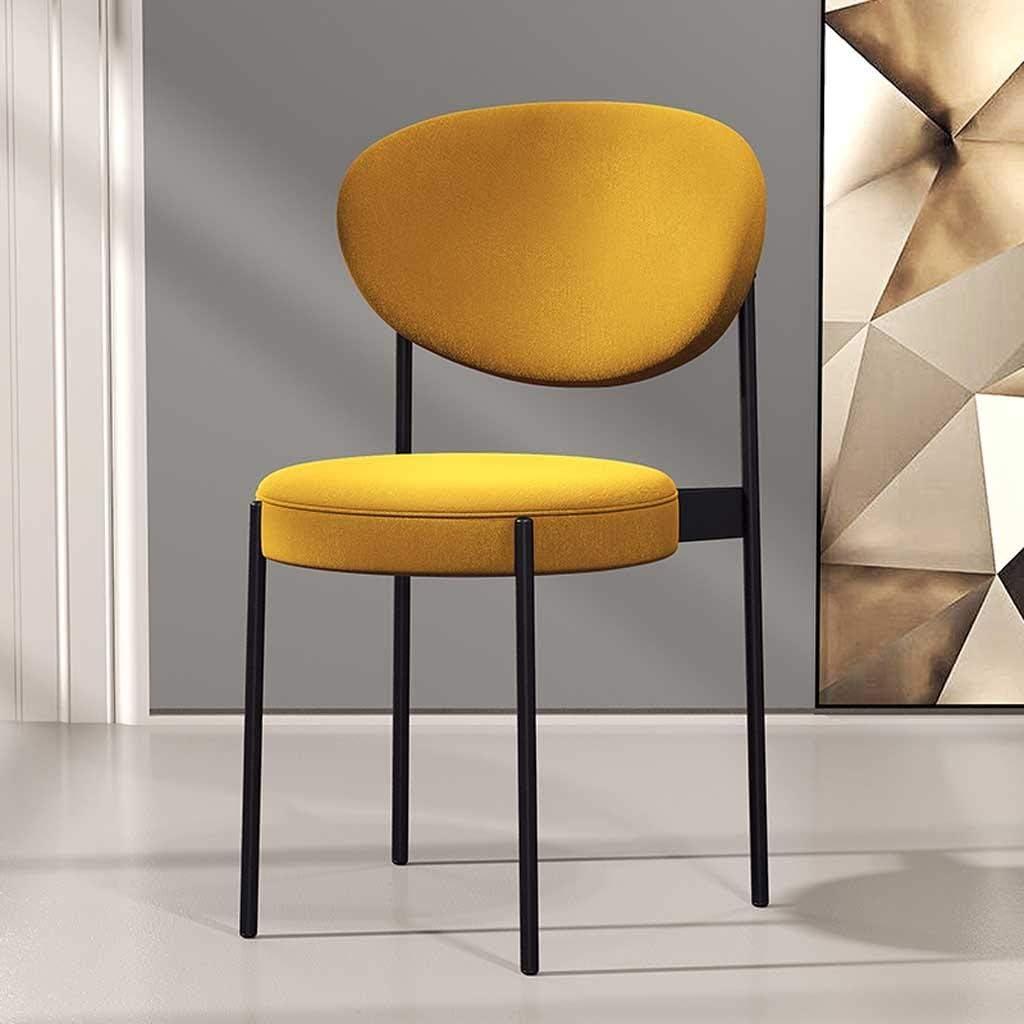 LRXG Chaise de Salle à Manger, Chaises de café Chaise latérale Jambe en métal Coton Lin Surface Tampon coussiné Cuisine Salle à Manger Salon Chambre (Color : Dark Green) Yellow