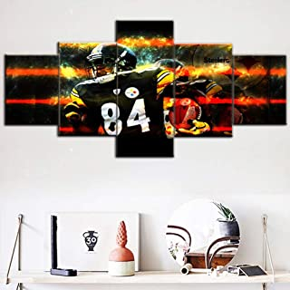 Native American Decor Pittsburgh Steelers Paintings NFL Pictures Antonio Tavaris Brown Sr. Wall Art 5 Piece Canvas Modern Artwork Giclee Home Decor for Living Room Framed Ready to Hang (50''Wx24''H)
