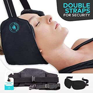 Hammock for Neck with Double Straps Buckle for Protection with FREE Eye Mask - Portable Cervical Traction Device for Neck Pain Relief, Relaxation, and Physical Therapy - BodyRestore