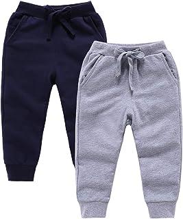ALALIMINI Boys&Girls Pants 2-Pack Active Jogger Casual Basic Unisex Little Kids Sweatpants 2-7
