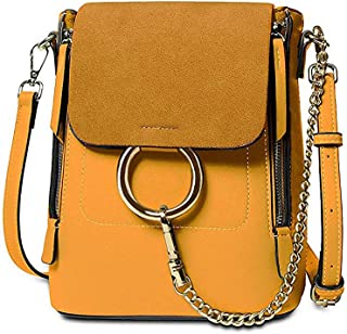 Olyphy Fashion Leather Ring Backpack for Women, Designer Mini Chain Shoulder Bag Crossbody Backpack
