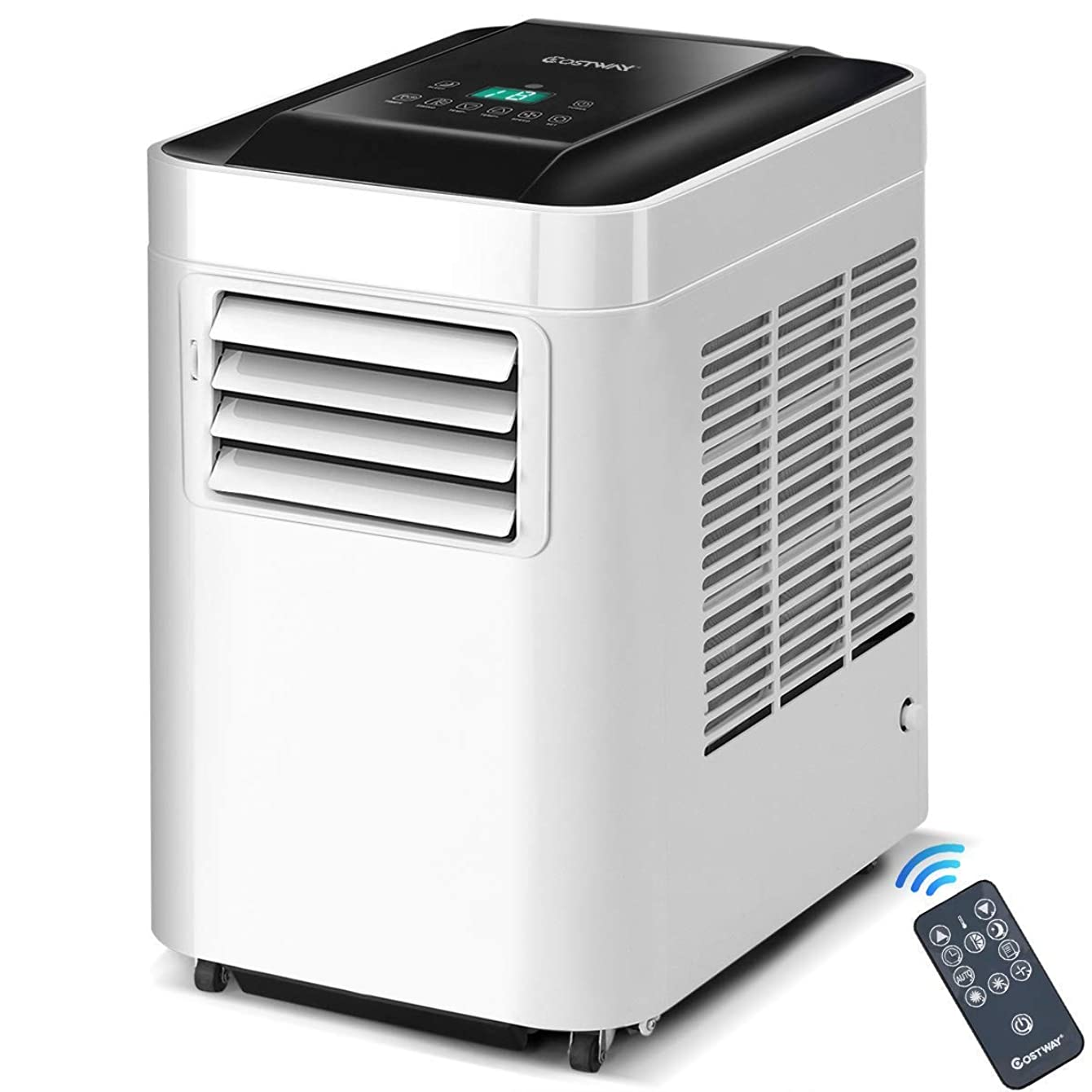COSTWAYUS COSTWAY 10,000 BTU Portable Air Conditioner Unit with Dehumidifier & Fan for Rooms up to 200 Sq. Ft. with Remote Control, LCD Display, and Casters White