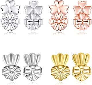 Earring Lifters Backs Hypoallergenic Adjustable of Gold Plated Sterling Silver Rose Gold Earring Jewelry 4 Pairs