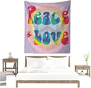Agoza Groovy DIY Tapestry Peace and Love Text in Tie Dye Pattern Energetic Youthful Fun 58s 70s Hippie Design Literary Small Fresh 51W x 60L INCH Multicolor