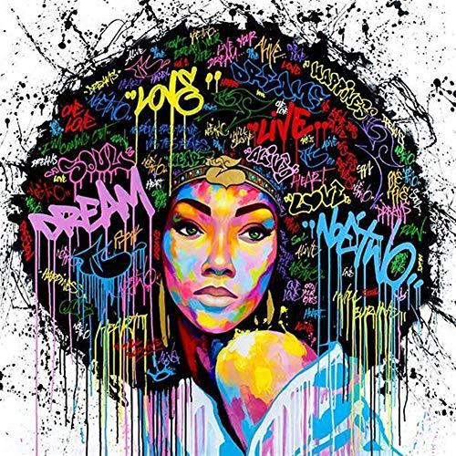 Leinwand Wandkunst, Ölgemälde Afrikanische Frauen Porträt Wand-Kunst-Schwarz Abstrakte Afro Poster Leinwand-Malerei Küche Büro Wohnkultur Graffiti ( Color : White , Size (Inch) : 40x40cm No Frame )