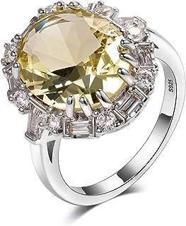 Bling Jewelry 3CT Jaune Coussin Carr/é Coupe CZ Zircone Cubique D/éclaration /À LOccasion De Fian/çailles CZ Halo Ouvrir Band Argent