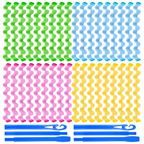 FEPITO 36 sztuk magiczne lokówki do włosów spiralne loki faliste stylizacje wałki do włosów zestaw bez nagrzewania lokówki i haczyków do stylizacji dla wszystkich długości włosów, 55 cm / 22 cale