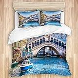 jonycm Juego De Cama De 3 Piezas Famous Old Town Canal Venecia Italia Juego De Cama De 3 Piezas Juego De Cama De Hospital Acogedor Hostal Decorativo Ropa De Cama Dormitorio De 3 Piezas P