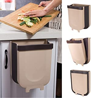 baqbaan Silicone Hanging Kitchen Trash Can for Fast Food Prep Cabinet Door-Home-Office-Bathroom-Outdoor Small Foldable Garbage Can 2.4Gal + Free Soap Brush