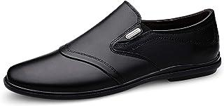 Zapatos casuales Zapatos de cuero para hombres, zapatos de plataforma de cuero con punta redonda, con costuras elásticas y...