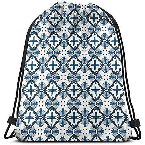 jingqi Gymsack,Kordelzug Taschen,Leichter Turnbeutel,Traditionelle Portugiesische Azulejo Fliesen Muster Illustration Gym Taschen,Reisesackpack,Sport Cinch Pack