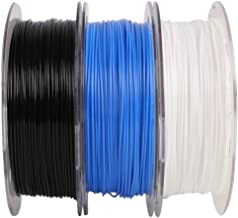 1.75mm PLA Filament Bundle, 3 Spools Pack (White/Black/Blue), Widely Compatible for 3D Printers, 0.5kg 1.1 lbs/Spool, Tota...