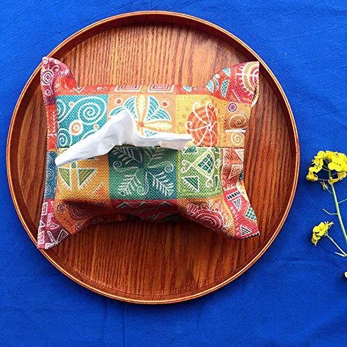 XUSHEN-HU Tejido caja de pañuelos de almacenamiento caja de los titulares de seda de colores a mano de la tela escocesa Patrón de línea hecho a mano de tela de algodón de lino de tejido de dibujos ani