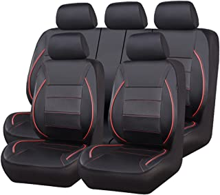 CAR PASS Universal FIT Piping Leather Car Seat Cover, for suvs,Van,Trucks,Airbag Compatible,Inside Zipper Design and Reserved Opening Holes (11PCS, Black and Red)