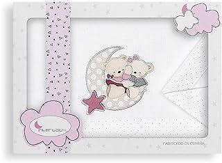 Sábanas Minicuna Osito Amoroso Blanco Rosa