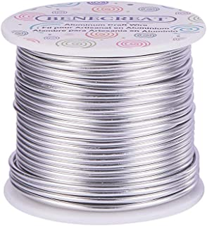 BENECREAT 12 17 18 Gauge Aluminum Wire (12 Gauge,100FT) Anodized Jewelry Craft Making Beading Floral Colored Aluminum Craft Wire - Silver