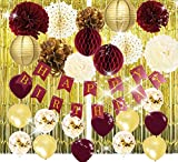 Burgundy Gold Birthday Party Decorations Burgundy Gold Happy Birthday Banner Glold Foil Curtain Ballons Polka Dot Fans for Burgundy Fall Birthday Party Supplies/Women 30th Birthday Decorations