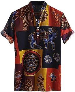 Hombre Camiseta con Estampado Étnico Hawaiano Slim Fit Modernas Camisa Manga Corta Baratas Tallas Grande Slim Fit para Pri...