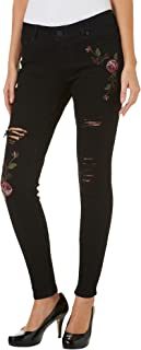 Juniors Rose Embroidery Destructed Skinny Denim Jeans