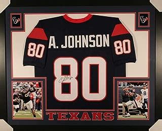 Andre Johnson Autographed Houston Texans Framed Blue XL Jersey JSA
