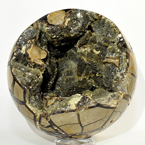 "King Size 6.1"" 7.1lb Septarian Dragon Stone Sphere Glittering Natural Calcite Druzy Mineral Ball Polished Crystal Stone - Madagascar + Wood Stand"