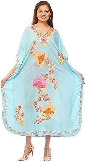 Odishabazaar Cotton Kashmiri Aari Work Designer Kaftan Maxi Dress Beachwear Cover Up