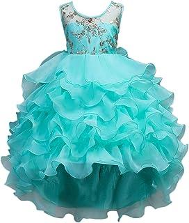Cocaker Flower Girl Dress Kids Ruffles Lace Wedding Dresses Girl Birthday Party Prom Ball Gown