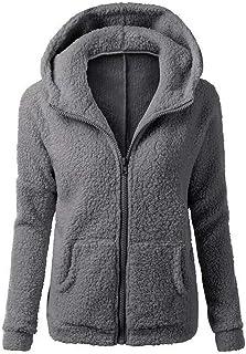 afbaea4745cb9d Vertvie Veste Polaire Femme Zippé Sweat-Shirt à Capuche Manteau Hoodie  Chaud Automne Hiver