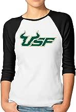 ElishaJ Women's Raglan 3/4 Sleeve T-Shirt University South Florida Black