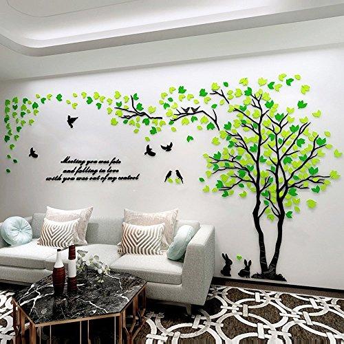JYSPORT Wandaufkleber, Wandtattoo, selbstklebende Wandtattoo 3D Kristall des Paares Baum für TV / Sofa Hintergrund / Wohnzimmer etc (Green and Yellow, L)