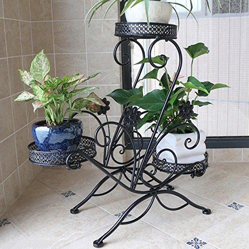Porte-fleurs multifonctions Support de fleur de fer Étage à plusieurs étages Support de balcon Étagère d'étagère à granulés vert européen d'intérieur (3 couleurs en option) (45 * 68cm) Applicable aux