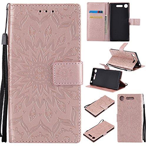 Capa carteira para Sony Xperia XZ1, couro PU [alça de pulso] [suporte] Capa com estampa floral de girassol para Sony Xperia XZ1, ouro rosa