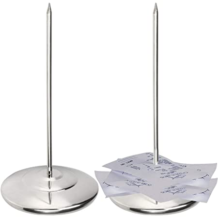 Bleiou 3 Pack Stainless Steel Straight Rod Paper Receipt Holder Check Spindle Bill Votes Fork