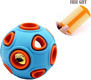 Flavored Dog Chew Toys for Aggressive Chewers, Interactive Cat Toy, Durable Dog Ball with Small Bell Inside, Natural Rubber Puppy Toys, Pet Training Treat Ball for Fetch and Play, Dog Dental Chews.