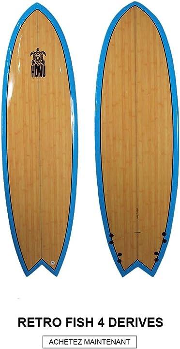 Tavola da surf fish 6`4, design retrò, 4 x derive honu B07L69GHGM