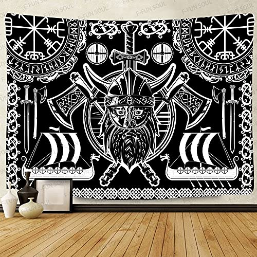 Viking Odin God Tapestry, Large 80x60inches Soft Flannel Viking Tapestry, Norse Runes Warship Celtic Scandinavian Psychedelic Art Wall Hanging Tapestries for Living Room Bedroom Viking Decor GTLSFS438