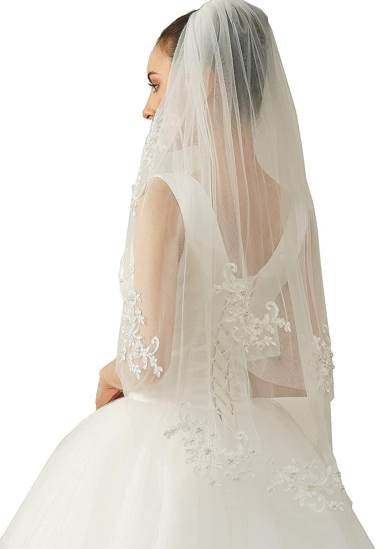 EllieHouse 2 Tier Fingertip Length Wedding Bridal Veil With Comb X07