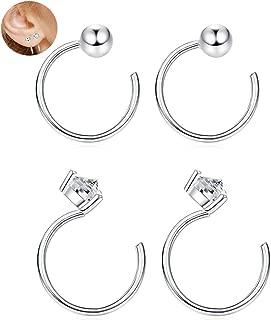 2 Pairs 925 Sterling Silver Ball Half Hoop Studs Earrings for Cartilage Women Piercing CZ Earrings Hypoallergenic Body Jewelry