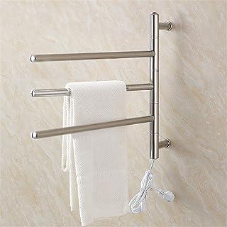 Ducha Toallero eléctrico calentado WTCHI, calentador de toallas calientes giratorio 180 °, toallero de acero inoxidable montado en la pared para baño, cromo pulido, 3 barras, cabezal de conexi