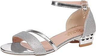 Women Sandals, LONGDAY 🌿 Casual Flat Reshinestone Crystal Slip On Ankle Strap Block Heel Open Toe Party Dress Shoes