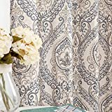 jinchan Vintage Linen Curtains for Living Room with Medallion Damask Printed Drapes for Bedroom Medallion Curtain Sets for Windows Patio Door 2 Panels 84 Inch Blue on Beige