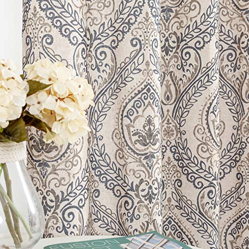 "jinchan Damask Printed Curtains for Bedroom Drapes Vintage Linen Blend Medallion Curtain Panels Window Treatments for Living Room Patio Door 1 Pair 63"" Blue"