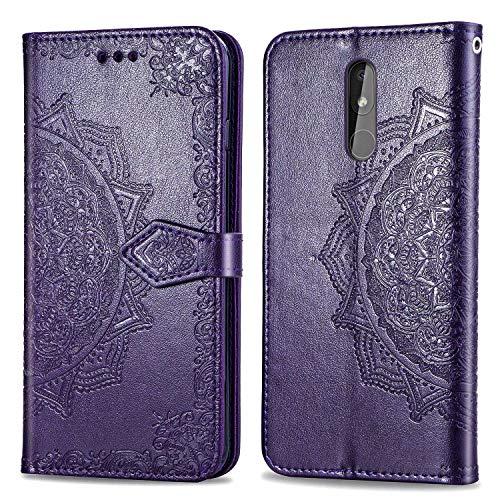 Bear Village Hülle für Nokia 3.2, PU Lederhülle Handyhülle für Nokia 3.2, Brieftasche Kratzfestes Magnet Handytasche mit Kartenfach, Violett