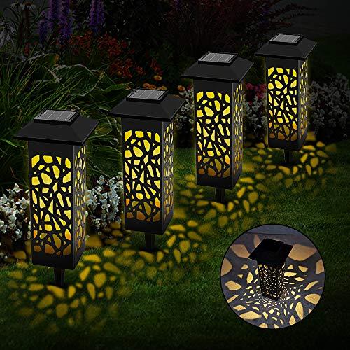 Vegena Solarleuchte Garten 6 Stück, LED Solarleuchten für Den Garten IP55 Wasserdicht für Außen Decorative Solarlamp Terrasse Hinterhöfe Fahrstraßen Wege Patio Rasen (4 Stück)