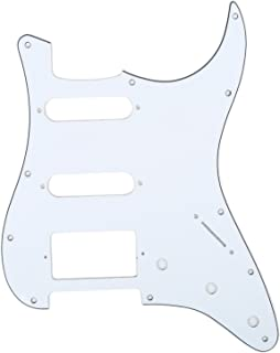 Musiclily HSS 11 Holes Strat Electric Guitar Pickguard Scratch Plate for Fender USA/Mexican Made American Standard Stratocaster Modern Style Guitar Parts,3Ply White