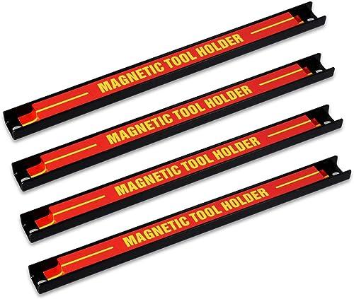 Navaris Imanes para herramientas - 4x Barra magnética para herramientas 30.5 x 2.3 CM - Set bandas imantadas para coc...
